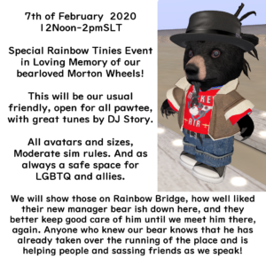 Picture of Morton, a tiny bear avatar with description of the memorial event held in his honor 7th of February, 2020.